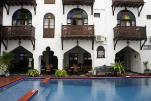 Pool and inner court of Dhow Palace Hotel